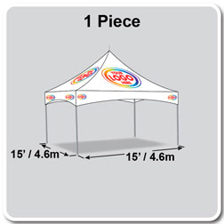 15' x 15' Pinnacle Series High Peak Frame Tent / Cross Cable Marquee Logo Print