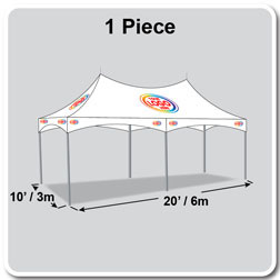 10' x 20' Pinnacle Series High Peak Frame Tent / Cross Cable Marquee Logo Print