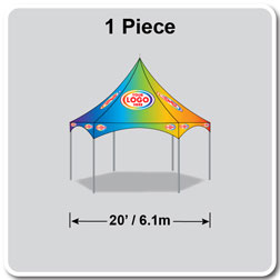20' Hex Pinnacle Series High Peak Frame Tent / Cross Cable Marquee Full Digital Print