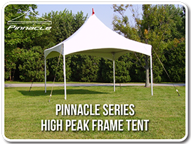 Pinnacle High Peak Cross Cable tents are designed with a high peak tube supported by cross cables extending from each corner tube maximizing the usable ... & 15u0027 x 15u0027 Pinnacle Series High Peak Frame Tent / Cross Cable ...