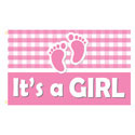 It's a Girl (Plaid) Rectangle Flags